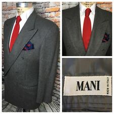 Mani Giorgio Armani Mens Size 42L Grey Double Breasted Flannel Blazer Jacket