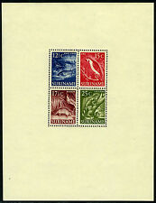 Surinam 263a S/S, MI Bl.1, MNH. Catfish, Macaw, Armadillo, Common iguana, 1955