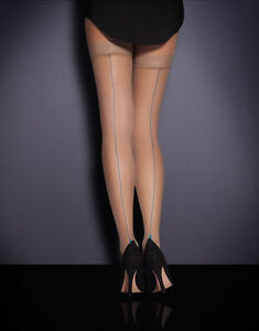 Agent Provocateur SEAM & HEEL HOLD UPS NWT CHAMP/TURQUOISE Sheer