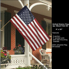 United States Usa American Flag Garden Porch 2pc Wood Pole Flag Kit