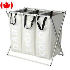 Laundry Basket Bag Organizer Foldable Washing 3-Section X-Frame Hamper Sorter
