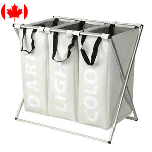 Oxford 3-Bag Laundry Sorter Cart Laundry Hamper Basket X-Aluminum Foldable Frame