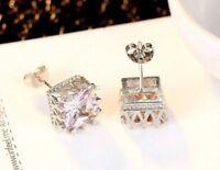 WHITE GOLD PLATED CROWN SQUARE STUD EARRINGS MADE WITH SWAROVSKI CRYSTALS W4