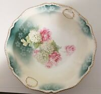 "Vintage R.S. Prussia Porcelain Bowl Germany 10"" Diameter Roses Hydrangeas"