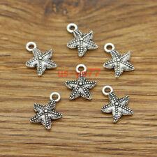 50 Starfish Charms Beach Ocean Charm 2 Sided Charms Antique Silver 13x16 3120