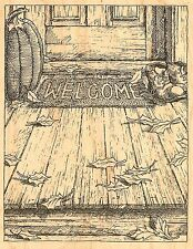 FALL LEAVES WELCOME MAT Wood Mounted Rubber Stamp IMPRESSION OBSESSION H1837 NEW