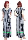 Summer Maxi Dress Long Black White Print Cotton Short Sleeve V Neck Size 8