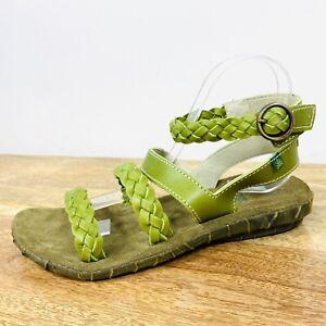 El Naturalista Womens Palma Sandals Green Braided Leather Boho Size 40