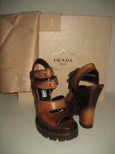 $700 NEW PRADA Women US 5 Brown Leather Ankle Strap High Heel Sandals Shoes Box