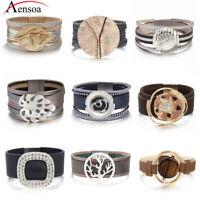Fashion Women Men Geometric Alloy Multi-layer Leather Bangle Wrap Cuff Bracelets
