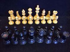 """BELLISSIMO ANTICO BOSSO & EBONIZED set di scacchi Staunton CORONA Jaques? 3"""" King"""