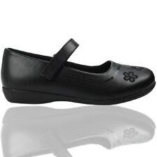 Goody 2 Shoes Girls Black matt School Shoes embroided flower Free P&P RRP £18