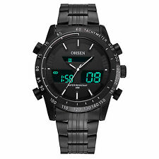 OHSEN Black Stainless Steel Analog Digital Dual Time Mens Quartz Wrist Watch