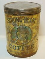 Old Vintage 1920s STRONG HEART COFFEE TIN GRAPHIC 1 POUND CAN DES MOINES IOWA IA