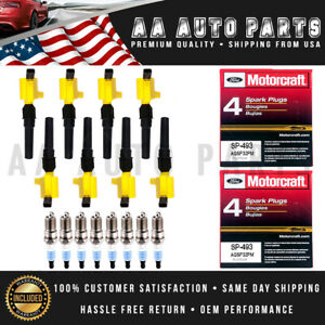 Yellow Ignition Coil DG508 & SP493 MotorCraft Spark Plugs 8PCS For Ford Models