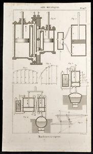 1852 - Gravur Arts Mechaniken Dampfmaschine (3) . Wissenschaft & Technik