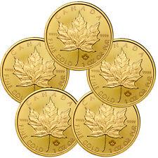 Lot of 5 - 2017 Canada $50 1 oz. Gold Maple Leaf BU Coins SKU44199