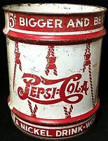 Large Vintage Pepsi Cola Soda Syrup Metal 10 Gallon Advertising Drum