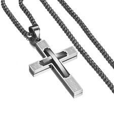 Free Stainless Steel Box Chain Jewelry Hip Hop Silver Cross Pendant Necklace