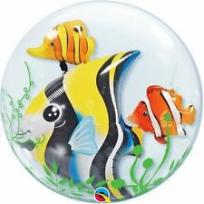 61cm Tropical Fish Clear Double Bubble Balloon Party Supplies