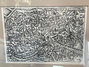 RARE 1629 Roma Antiqua Bertelli Engraved Antique Map  Framed & Matted