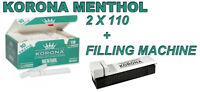 Empty Cigarette 2 BOX KORONA MENTHOL 2x110 +1  filling machine