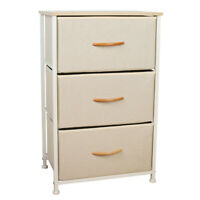3 Drawers Home Storage Cabinet Dressers Tower Wood Top Removable Steel Frame