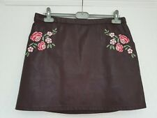 New Look DARK OXBLOOD WINE FAUX LEATHER A LINE MINI SKIRT, FLORAL EMBROIDERY, 16