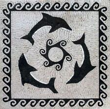 Three Black Dolphins Mosaic Mosaic Designs Marine Life&Nautical Mosaic Tile