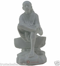 "4.3"" SHRI SHIRDI SAI BABA STATUE IDOL HANDMADE OF WHITE POLY MARBLE HOME DECOR"