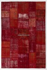 Red PATCHWORK RUG, HANDMADE from Distressed Overdyed Vintage Turkish Carpets