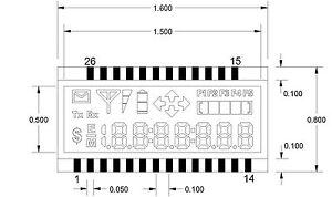 LCD 4-mux, 7.1 digits x 7 segments, progress bar, arrows