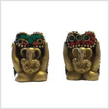 Lord Ganesha latón 3,5cm con verdaderas piedras ocupado suerte Dios hinduismo