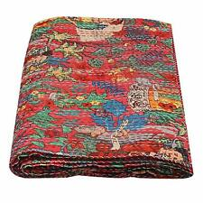 Ethnic Blue Floral Frida Khalo Cotton Blanket Indian Queen Bedding Bedspread