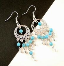 1 Pair of Blue Turquoise Gemstone Bohemian Dangle Earrings - #840