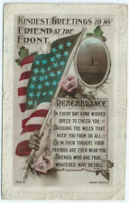 """Patriotic Postcard WWI """"Greetings to my friend at the front"""", Rotary 1918"""