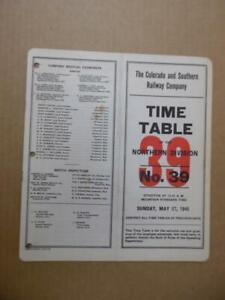 1945 Colorado and Southern Railway Employee Timetable 39 Northern Division C&S