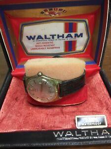 Vintage Waltham Manual Wind Men's Wrist Watch In Original Case Runs