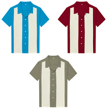 Mens Shirts  Contrasting Color Rockabilly Bowling Shirts Plus Size Clothing