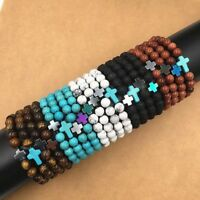 Natural Lava Stone Bracelet Cross Bead Rock Energy Volcanic Man Woman Bracelets