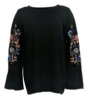 Belle by Kim Gravel Women's Sweater Sz M Embroidered Floral Black A343351