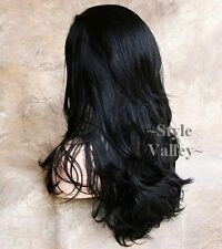 Long Black 3/4 Wig Fall Hairpiece Full bodied Wavy Half Wig  Hair Piece  #1B