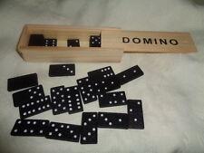 Domino Dominospiel Holzschachtel 28 schwarze Steine  ab 5 Jahre OVP NEU
