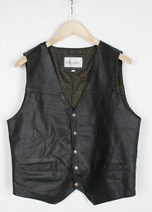 WAVE REBEL Men's MEDIUM Rigid Snap Buttons Leather Biker Waistcoat 34600-GS