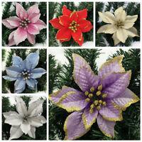 1/8/10x Weihnachtsblumen Weihnachtsbaum Dekorationen Glitter Hohl Hochzeitsfeier