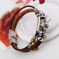 Fashion Unisex Handmade Brown Leather Silver Alloy Dragon Head Beads Bracelet