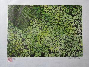 Clover Fern Forest Floor Original woodcut woodblock print Japanese washi signed