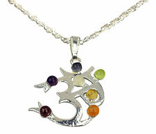 Chakra Buddhist Om Pendant Silver Plated with Real Gemstones