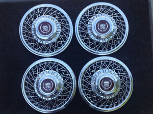 """CADILLAC, Chrome Metal HUB Caps With Gold/Maroon Emblems 14"""" - Complete Set of 4"""