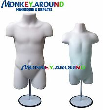 Child & Toddler Mannequin, Dress Body Form Display Clothing Hanging/Stand- White